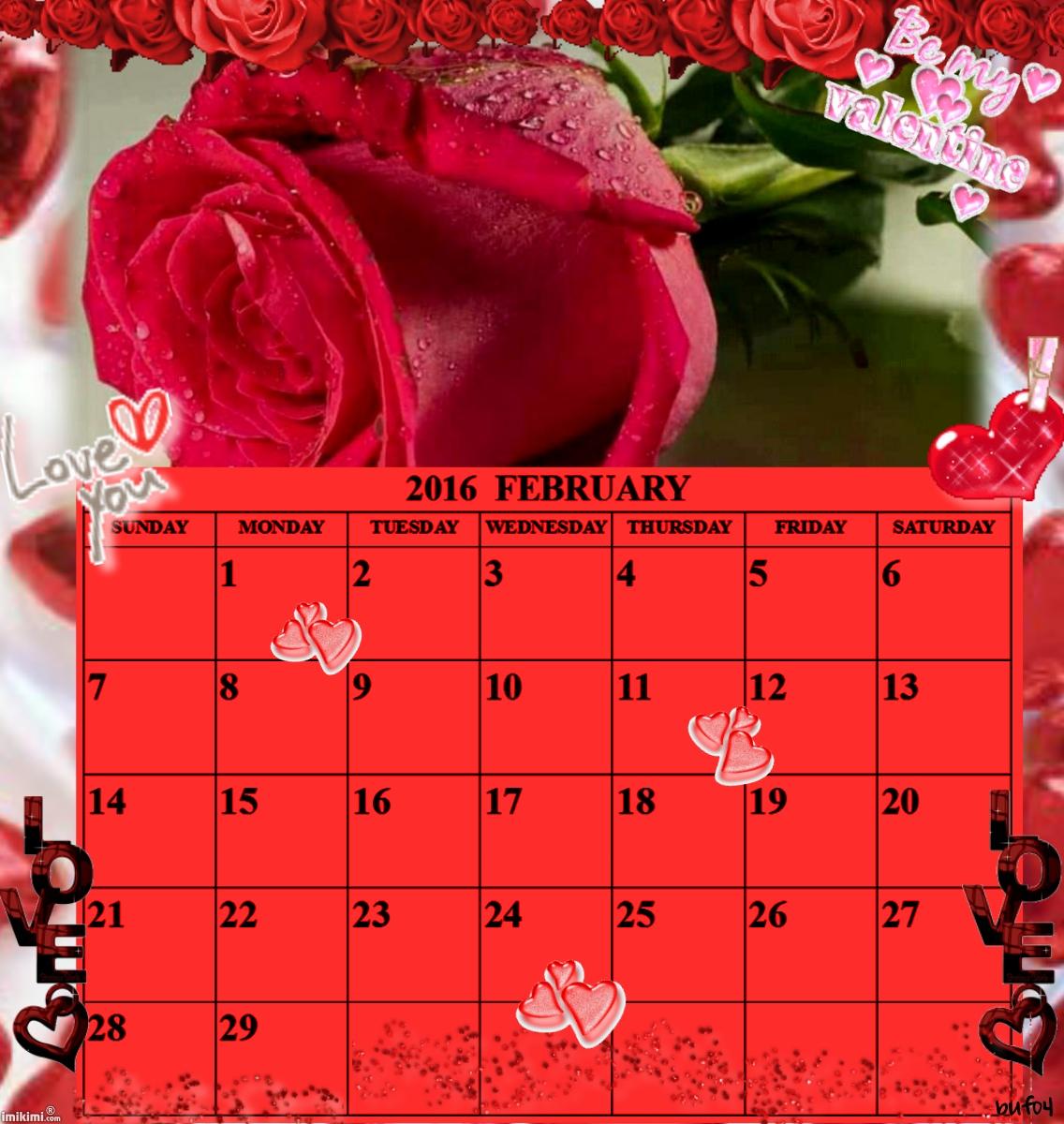 calendario de fevereiro 2016